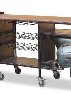 Retro style upcycled Vespar bar table wine rack