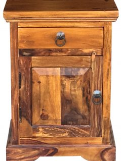 Sheesham wood bedside table with one drawer and one door (open to the left)