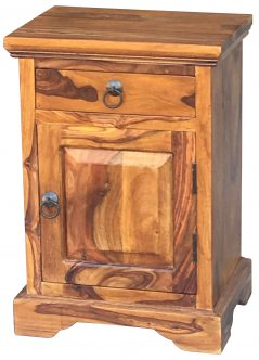 Sheesham wood bedside table with one drawer and one door (open to the right)
