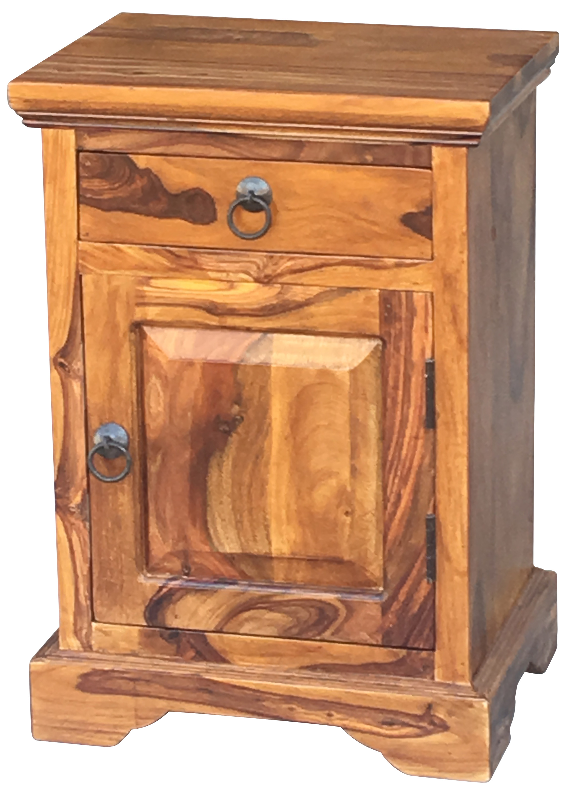 Sheesham Wood Bedside Table With One Drawer And One Door Open