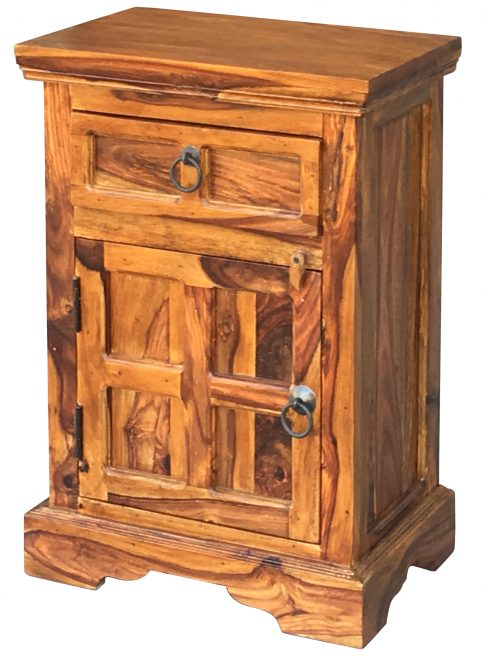 sheesham wood bedside table with one drawer and one door