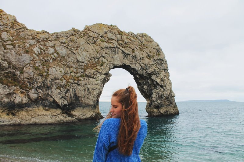 adventurous annika at durdle door