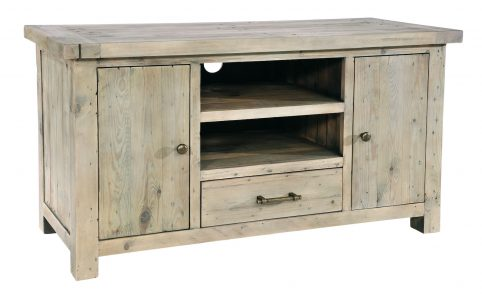 Natural solid reclaimed wood tv unit
