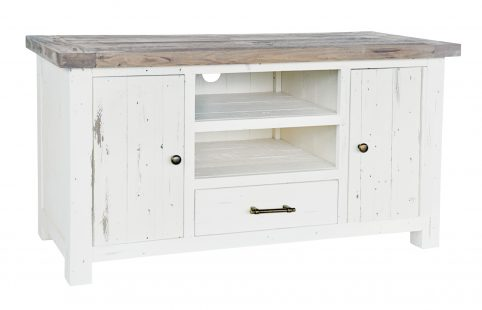 Solid reclaimed wood TV unit with storage
