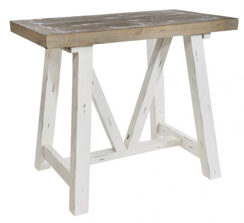 Solid reclaimed wood bar table