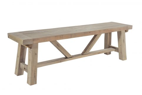 natural solid reclaimed wood bench