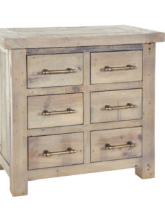 natural solid reclaimed wood storage chest (6drawers)