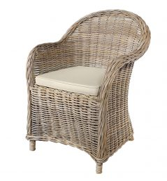 Handmade grey wash rattan arm chair