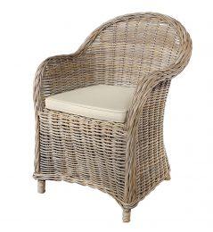 Handmade grey wash rattan arm chair