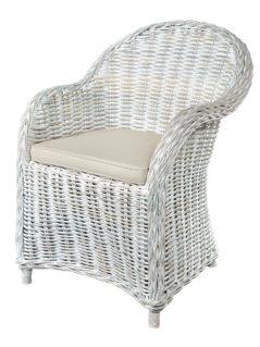 Handmade white wash rattan arm chair
