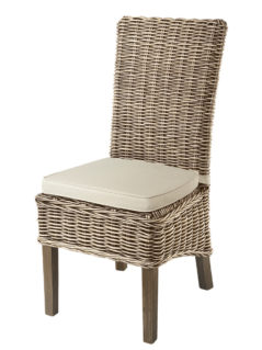handmade grey wash rattan dining chair