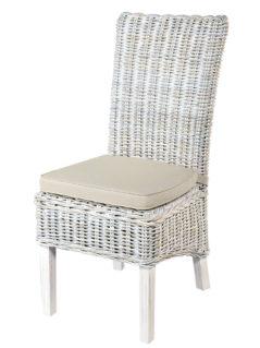 handmade white wash rattan dining chair