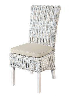 handmade white wash rattan dining chair