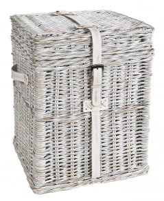 handmade white wash rattan linen basket
