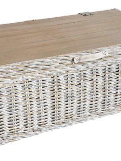 handmade white wash rattan storage coffee table