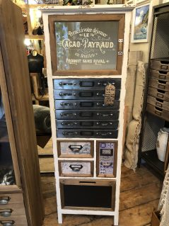vintage style multi drawer narrow storage cabinet