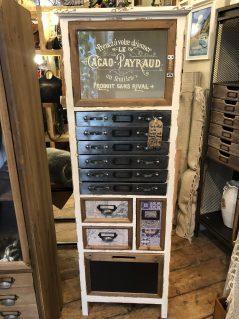 vintage style multi drawer narrow storage cabinet