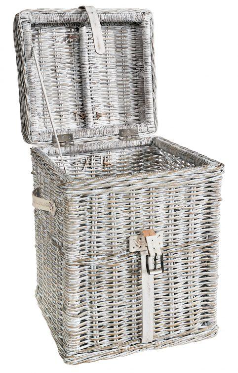 white linen basket open