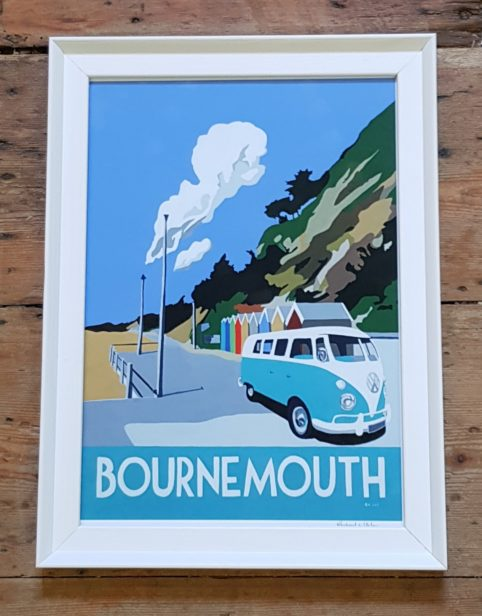 vintage style Bournemouth print with blue camper