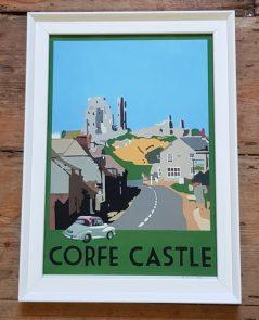 vintage style corfe castle print