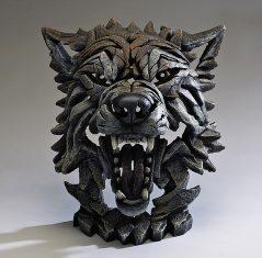 Handpainted Wolf Bust Sculpture