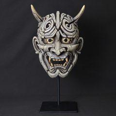 Handpainted Japanese Mask Sculpture