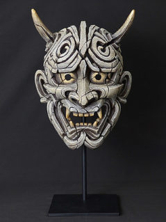 Handpainted Japanese Mask Sculpture