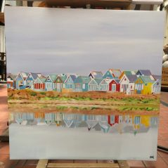 "hadpainted oil on canvas ""beachhuts on Mudeford"""