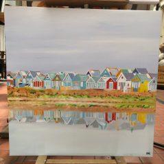 """hadpainted oil on canvas """"beachhuts on Mudeford"""""""