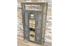 industrial style multi drawer cabinet with glass door and metal drawers