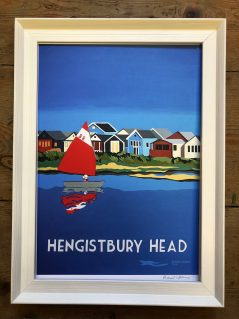vintage style Hengistbury head with sailing boat