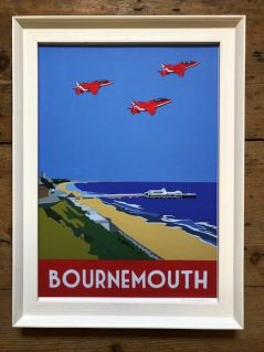 vintage style print of Bournemouth with red arrows