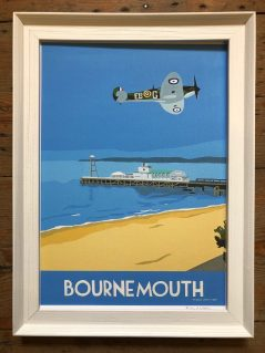 vintage style print of bournemouth with Spitfire