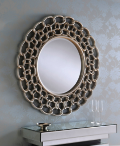 silver color chain effect round mirror