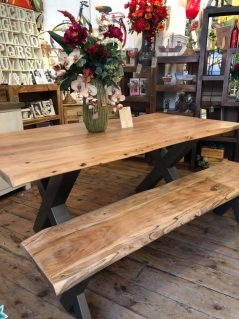 Contemporary Solid Wood Industrial Style Dining Table with solid metal legs