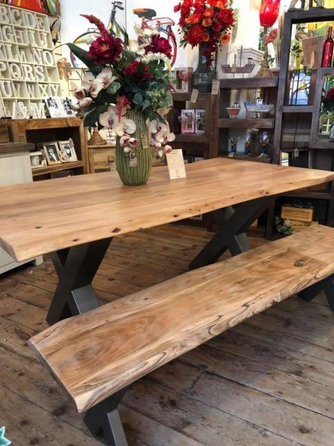 Contemporary Solid Wood Industrial Style Dining Table