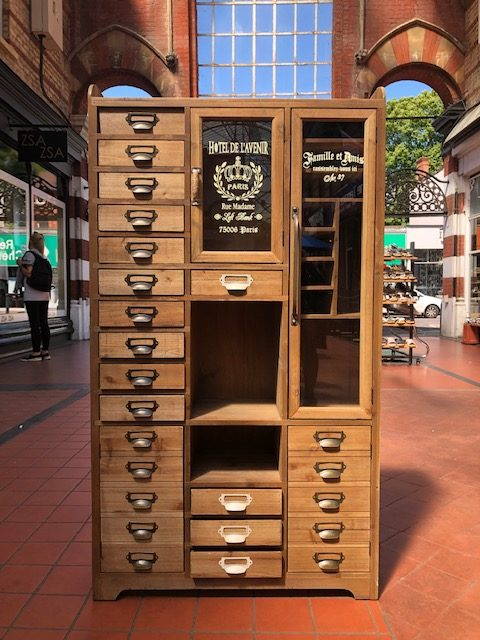 unique Parisian style storage cabinet with lots of drawer