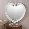 white heart shape rose mirror