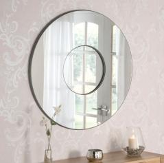 Round shape mirror on mirror