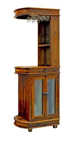 Sheesham wood drinks cabinet with glass doors