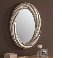 silver color modern oval mirror made in the UK