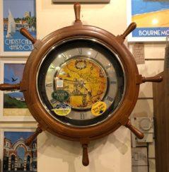 Japanese Rhythm Wooden Ship's Wheel Clock With Swarovski Crystals and magic motion