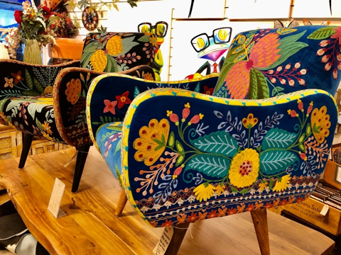 hand embroidered Indian butterfly Boho bedroom chair with flower patterns