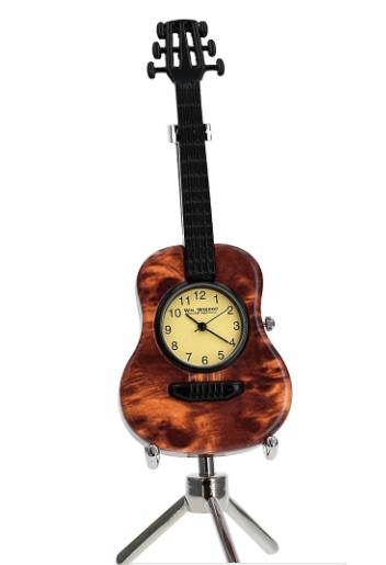 brown guitar miniature clock