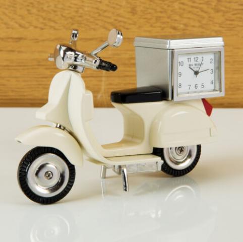 cream vespa clock miniature