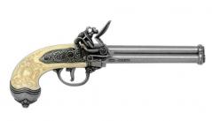 Silver & Ivory Three Barrel Flintlock Pistol (1680)