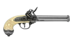 Denix Silver & Ivory color Three Barrel revolving replica Flintlock Pistol (1680)