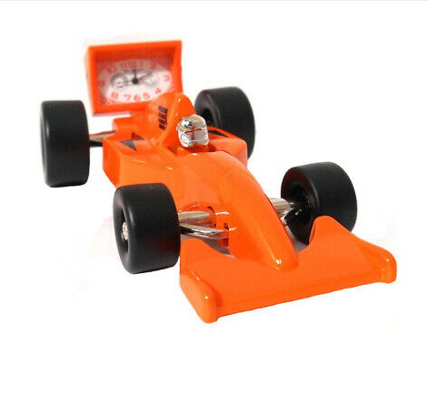 orange formula 1 miniature clock