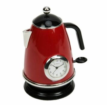 red kitchen kettle miniature clock
