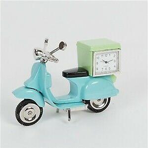 blue vespa miniature clock